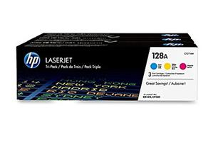 HP 128A (CF371AM) Cyan, Magenta & Yellow Original LaserJet Toner Cartridges, 3 pack