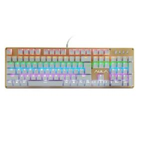 AULA SI-2010S Wired Mechanical Keyboard, USB, Gold and White