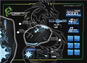 Dragon War G7 Chaos Design BlueSensor Gaming mouse with Marco function, w/ Mouse Mat