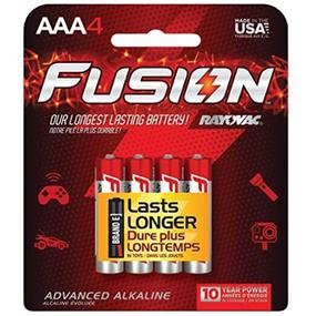 Rayovac 824-4TFUS Alkaline Fusion AAA 4-Pack Carded