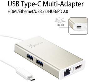 J5CREATE JCA374 USB Type-C Multi-Adapter HDMI/Ethernet/USB 3.0 HUB/PD 2.0