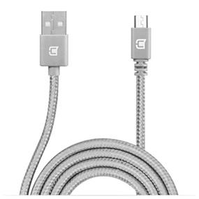 Caseco Nylon Braided Micro USB Cable - 2 Meter - Silver