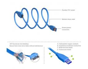 Avantree USB30B 3.0 A Male to Micro B USB Data Cable, 3.3-Feet, Blue(USB30B)