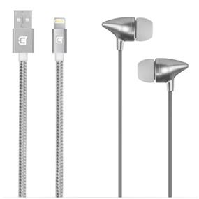 Caseco Apple Certified Lightning Cable & Earphone with Mic and Volume Control 2 Piece Combo Pack  - Silver