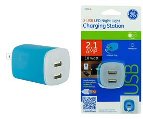 General Electric 2-Port 2.1A USB LED Night Light - Blue