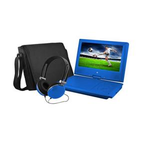 "Ematic 9"" Swivel Portable DVD Player with Matching Colour Headphone & Carrying Case (Blue)"