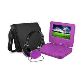 """Ematic 9"""" Swivel Portable DVD Player with Matching Colour Headphone & Carrying Case (Purple)"""