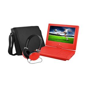 "Ematic 9"" Swivel Portable DVD Player with Matching Colour Headphone & Carrying Case (Red)"