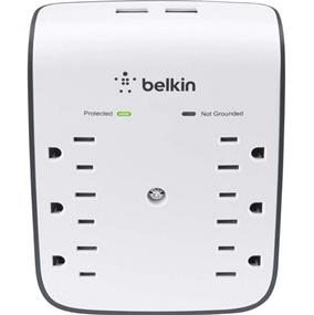 Belkin Wall Mount Surge Protector - 6 Outlet, 2 USB, $25,000 Protection  (BSV602tt)