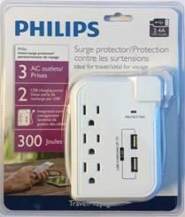 Philips 3-Outlet Travel Surge Protector Dual 2.4A Charger (SPP6030A/37)