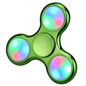 Fidget Spinner Stress Relief Toy LED Light - Plating Green