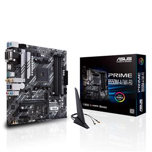 ASUS Prime B550M-A WiFi AMD B550 (Ryzen AM4) micro ATX motherboard with dual M.2, PCIe 4.0, Intel WiFi 6, 1 Gb Ethernet, HDMI/D-Sub/DVI, SATA 6 Gbps, USB 3.2 Gen 2 Type-A, and Aura Sync RGB headers support