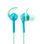 Wicked Audio Fang Anchor Fit Earbud (Blue/Aqua) | Anchor Fit | Built-in Mic, Hands Free & Track Contro l Gold-plated 45° Smart Plug