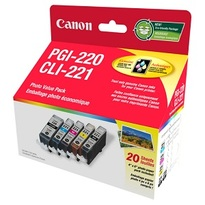 Canon PGI-220/CLI-221 Ink Cartridge and Photo Paper Value-Pack