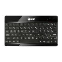 Azio Backlit Bluetooth 3.0 Wireless Rechargeable Tablet Keyboard w/ Large Print Keys - Black