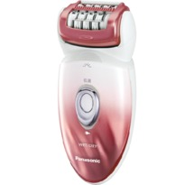 Panasonic ESED90 Cordless Rechargeable Wet / Dry Washable Women's Epilator with 6 Attachments - White & Red  | 48 Rotating Tweezing Discs , LED Light