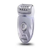 Panasonic ESED64 Cordless Rechargeable Wet / Dry Washable Women's Epilator with Exfoliation Attachment - White & Purple  | 48 Rotating Tweezing Discs , 60 Degree Pivoting Head , Built-in LED Light , Universal Voltage