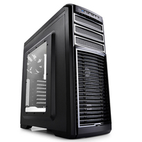 Deepcool Kendomen TI Black with Titanium Highlights Window Mid Tower Case | 2 White LED Fans, 3 Black Fans