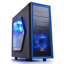 Deepcool Tesseract SW-BK Black Window Mid Tower Case | 2 Blue LED Fans