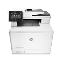 HP Color LaserJet Pro MFP M477fnw | Up to 27 ppm Color- 600 x 600 dpi, Up to 38,400 x 600 enhanced dpi | Print | Copy | Scan | Fax | Connectivity: Hi-Speed USB 2.0 port; built-in Gigabit Ethernet 10/100/1000 Base-TX network port; Easy-access USB | Part no: CF377A#BGJ