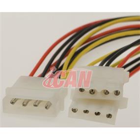 iCAN Internal Computer Power splitting Y Cable/Cord, 1 x Molex 4pin male to 2 x Molex 4pin female  - 6 inch (PWR Y SPLIT5-B)