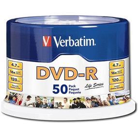 Verbatim DVD-R Life Series 4.7GB 16X 50 pack Spindle (97176)