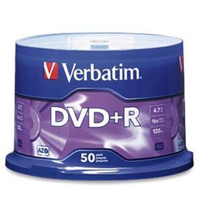 Verbatim DVD+R 16X 4.7GB Spindle 50 Packs (95037)