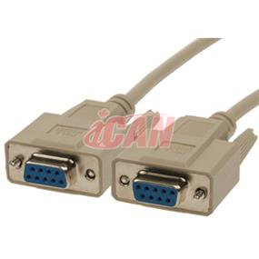 iCAN DB9 Null Modem Cable Crossover Cable F/F - 6ft. (for PC to FTA Receiver Satellite Cable) (NMDM-DB9FF)