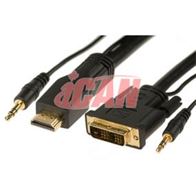 iCAN HDMI-DVID Single Link 28AWG Ferrites Gold + Stereo - 15 ft. (for PC/DVD Players w/Audio output to HDMI TV) (HDA-28-GF-15)