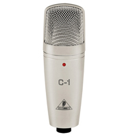 Behringer Studio Condenser Microphone C-1 - Studio Condenser Microphone   Ideal as main/support mic for studio or live applications   Ultra-low noise   Swivel stand mount & transport case included   Perfect for acoustic instruments, overhead, piano etc