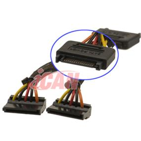 iCAN SATA Power Y Cable 15-pin 1 Male to 2 Female (PWR SATA-1M2F-06)