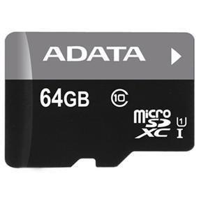 ADATA Premier 64GB microSDXC UHS-I Class 10 Flash Memory Card w/Adapter Upto 50MB/s Read, 10MB/s Write  (AUSDX64GUICL10-RA1)