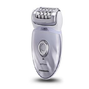 Panasonic ESED64 Cordless Rechargeable Wet / Dry Washable Women's Epilator with Exfoliation Attachment - White & Purple (ESED64) | 48 Rotating Tweezing Discs , 60 Degree Pivoting Head , Built-in LED Light , Universal Voltage