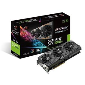 ASUS ROG Strix GeForce GTX 1080 Ti 11GB Gaming OC (STRIX-GTX1080TI-O11G-GAMING)  | 1569 MHz Base/ 1708 MHz Boost, 11010 MHz Memory | PCI-E 3.0, 1x DVI, 2xHDMI 2.0, 2x DP, Aura Sync RGB LED