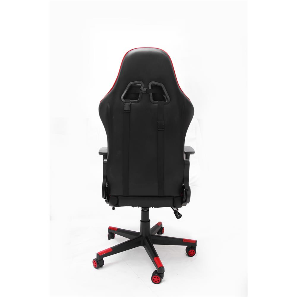 Image of iCAN Racing Gaming Chair, Footrest, PU leather, 3D Armrest, 60mm PU Caster, Black & Red