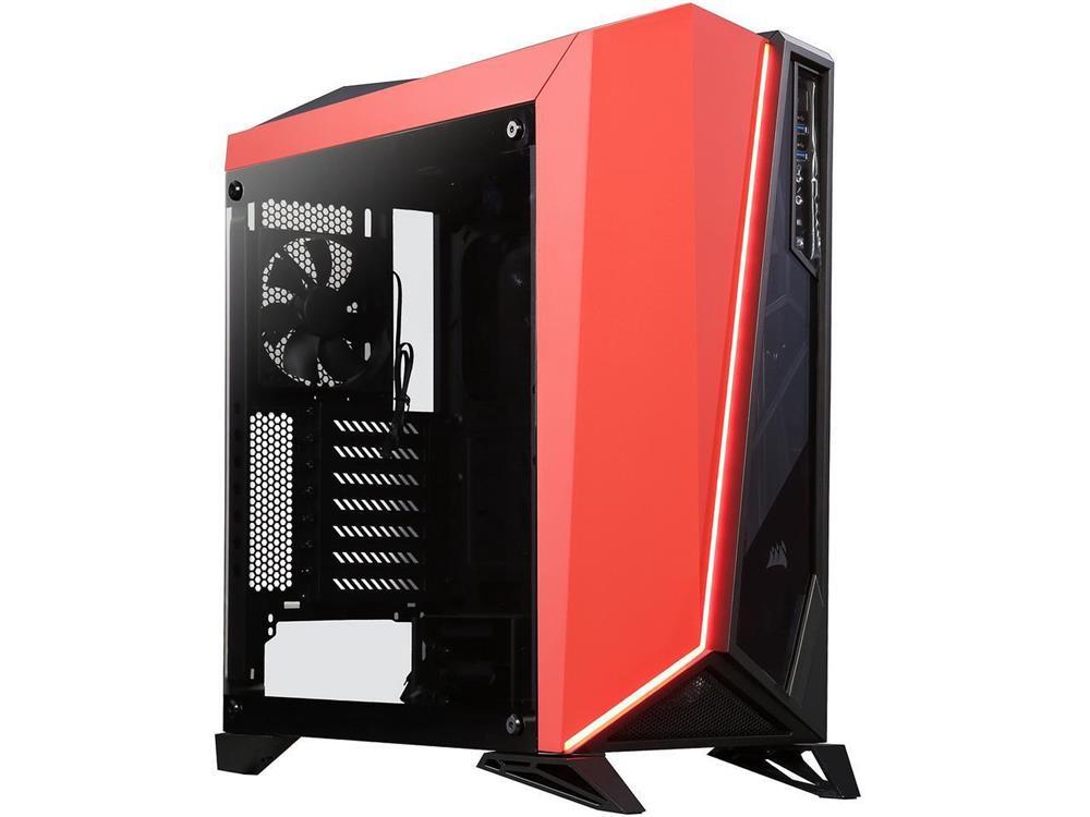 No PSU Black//Red - Canada 10-Bay ATX Mid Tower Computer Case Brand New