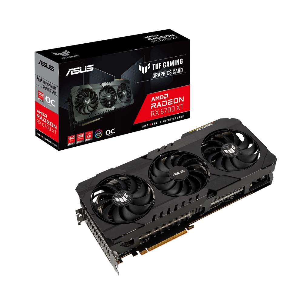 ASUS TUF Gaming Radeon RX 6700 XT OC Edition Graphics Card (AMD RDNA 2, PCIe 4.0, 12GB GDDR6, HDMI 2.1, DisplayPort 1.4a, Dual Ball Fan Bearings, All-aluminum Shroud, Reinforced Frame, GPU Tweak II) - TUF-RX6700XT-O12G-GAMING