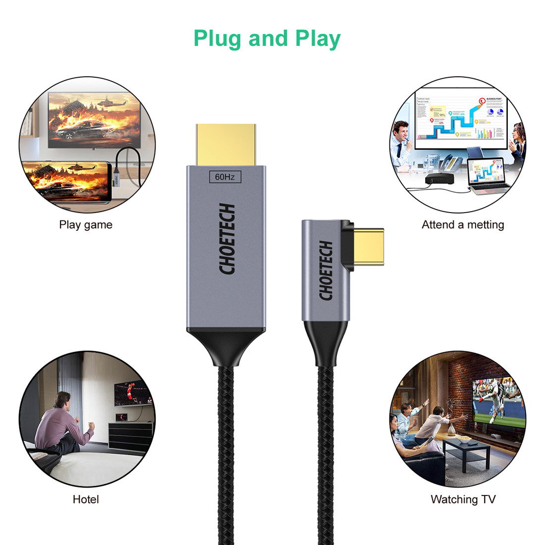 USB 3.1 4K@60Hz with 18Gbps Sonero UCC010-010 USB-C to HDMI 2.0 Cable 1.0 m Black White White USB-C auf DisplayPort 1,0m Thunderboltandere USB-C Computer Old Mode