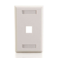 Cables To Go 1-Port Single Gang Multimedia Keystone Wall Plate - White (03410)