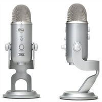 "Blue Yeti Microphone (Silver) | 16-Bit/48 kHz Resolution | 4 Selectable Polar Patterns | 1/8"" Headphone Monitoring Jack"