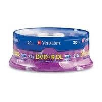 Verbatim DVD+R AZO 8X 8.5GB Double Layer Branded 20PK Spindle (95310)