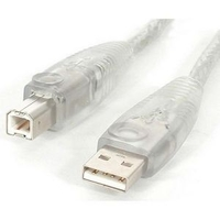 StarTech USB 2.0 Cable Type A Male To Type B Male 15ft Transparent (USB2HAB15T)
