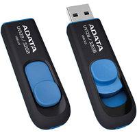 ADATA DashDrive UV128 32GB Retractable USB 3.0 Flash Drive - Black/Blue Up to 90MB/s Read, 40MB/s Write (AUV128-32G-RBE)