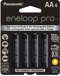 PANASONIC Eneloop PRO AA 2550mAh NiMH Rechargeable Battery 4 Pack (BK3HCCA4BA)