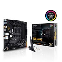 ASUS TUF GAMING B550M-PLUS (WI-FI) AMD B550 (Ryzen AM4) micro ATX gaming motherboard with PCIe 4.0, dual M.2, 10 DrMOS power stages, Intel® WiFi 6, 2.5 Gb Ethernet, HDMI, DisplayPort, SATA 6 Gbps, USB 3.2 Gen 2 Type-A and Type-C, and Aura Sync RGB lighting support