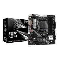 ASRock B450M PRO4-F AMD AM4 Ryzen 1st, 2nd, and 3rd Gen, DDR4 3200+ (OC), PCIe 3.0x16, HDMI, DVI-D, D-Sub, 7 USB 3.2 Gen1 (Type-C+A), Ultra M.2, GLAN, Micro ATX Gaming Motherboard
