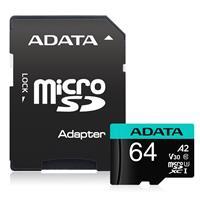 ADATA Premier Pro 64GB microSDXC UHS-I U3 V30S A2 Flash Memory Card w/Adapter Up to 100MB/s Read, 80MB/s Write(AUSDX64GUI3V30SA2-RA1)
