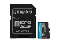 Kingston Canvas Go! Plus microSDXC 128GB,Class 10, UHS-I, U3, V30, A2 ,170MB/s Read, 90MB/s Write   With Adapter (SDCG3/128GBCR)