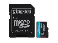 Kingston Canvas Go! Plus microSDXC 256GB, Class 10, UHS-I, U3, V30, A2,170MB/s Read, 90MB/s Write Flash Card with Adapter (SDCG3/256GBCR)