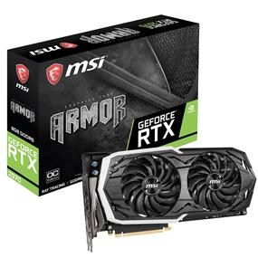 MSI GeForce RTX 2070 ARMOR 8G OC GDDR6 Dual Fan 1410 MHz Base/1740 MHz Boost Clock, 14000 MHz Memory PCI-E 3.0, HDMI 2.0b, 3x DP 1.4, USB Type-C, RGB